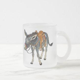 donkey with saddle frosted glass coffee mug