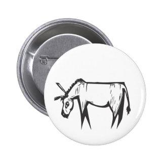 Donkey Woodcut Pinback Button