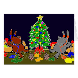 donkeys and christmas tree greeting card