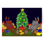 donkeys and christmas tree greeting card