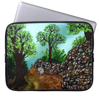 donkeys and stone wall laptop sleeve