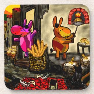 donkeys at bakery drink coaster