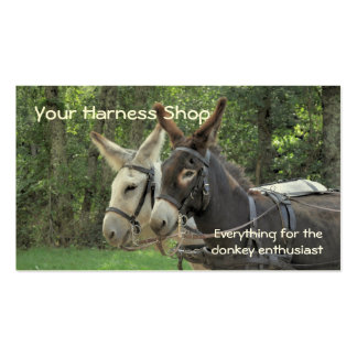 Donkeys being driven in harness business card