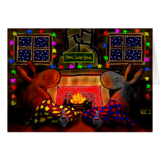 donkeys by Christmas fire Greeting Card