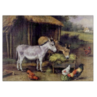 Donkeys Chicken Farm Animals Painting Cutting Boards