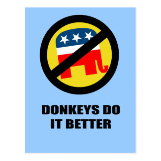 Donkeys do it better postcard