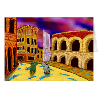 donkeys in Verona, Italy Card