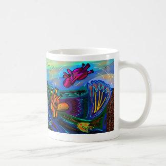 donkeys swimming classic white coffee mug