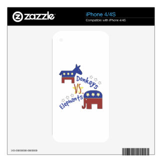 Donkeys Vs Elephants Decals For The iPhone 4