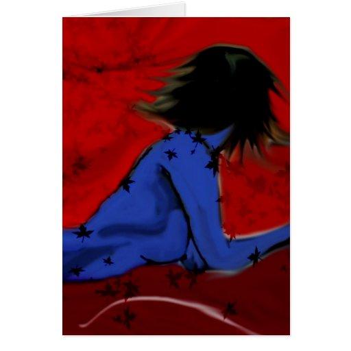 Donna blu con foglie card