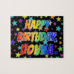 "[ Thumbnail: ""Donna"" First Name, Fun ""Happy Birthday"" Jigsaw Puzzle ]"