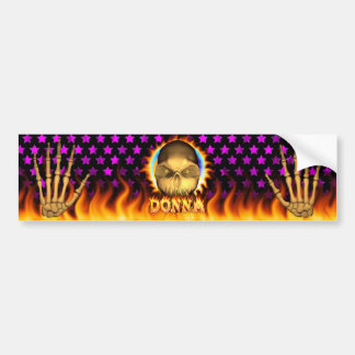 Donna skull real fire and flames bumper sticker