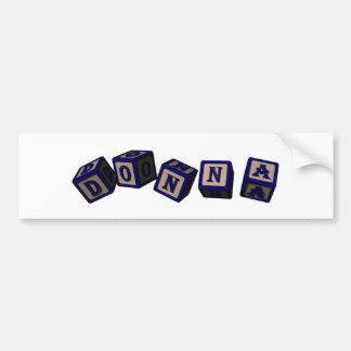 Donna toy blocks in blue car bumper sticker