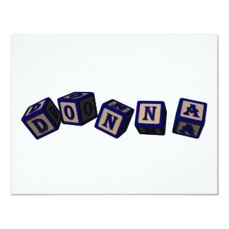 Donna toy blocks in blue card