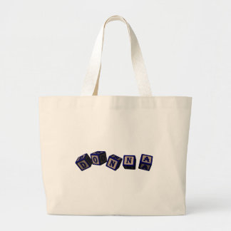 Donna toy blocks in blue jumbo tote bag