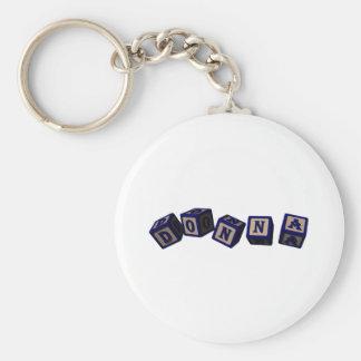 Donna toy blocks in blue basic round button keychain