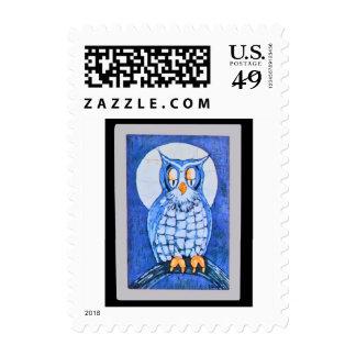 Donna's Blue Owl Batik US Postage Stamp