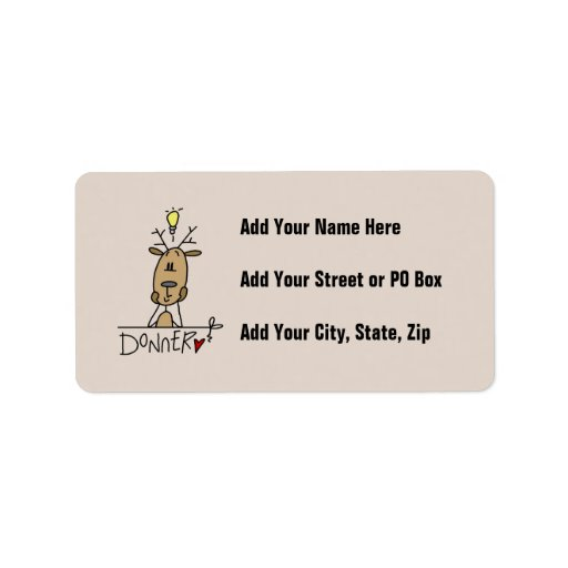 Donner Reindeer Christmas T-shirts and Gifts Personalized Address Label