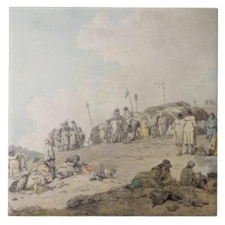 Donnybrook Fair, 1782 (pen, ink and w/c on paper) Large Square Tile