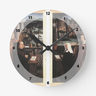 Donor with St. Nicholas,his Wife by Jan Provoost Wall Clock