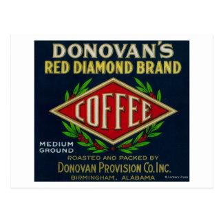 Donovan's Coffee LabelBirmingham, AL Postcard