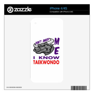 Don't angry me, i know Taekwondo. iPhone 4 Decal