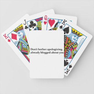 Don't Apologize Bicycle Playing Cards