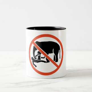 Don't Approach the Elephants Sign, UK Two-Tone Coffee Mug