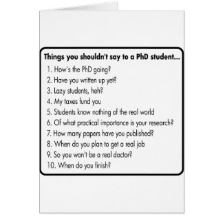 Don't ask a PhD Card