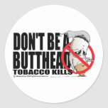 Don't Be A Butthead Round Stickers