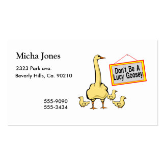 Don't Be A Lucy Goosey Goose Double-Sided Standard Business Cards (Pack Of 100)