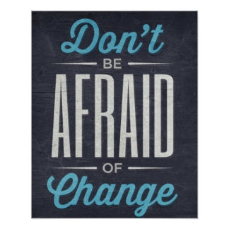 Don't Be Afraid Of Change Typography Quote Poster