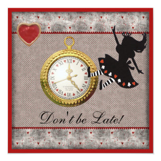 "Don't be Late Alice in Wonderland Birthday Party 5.25"" Square Invitation Card"