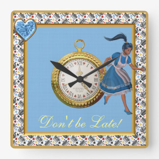 Don't be Late Alice in Wonderland Blue Crowns Square Wall Clocks