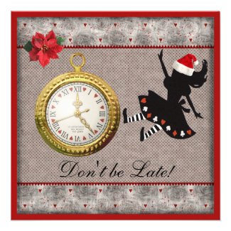 Don't be Late Alice in Wonderland Christmas Party Invitation