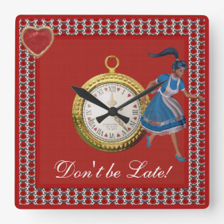 Don't be Late Alice in Wonderland Red Roses Square Wall Clock