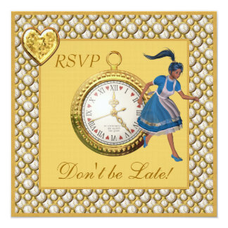 Don't be Late Alice in Wonderland RSVP Wedding Personalized Invites
