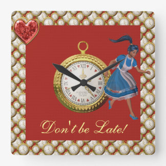 Don't be Late Alice in Wonderland Square Wall Clock