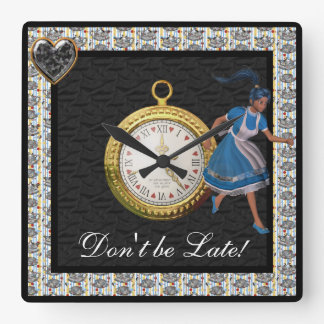 Don't be Late Alice in Wonderland Tea Party Black Square Wall Clock