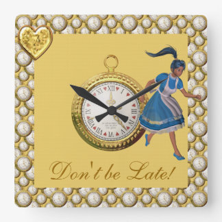 Don't be Late Alice in Wonderland Yellow Square Wall Clock