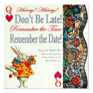 Don't Be Late! 5.25x5.25 Square Paper Invitation Card