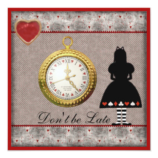Don't be Late Wonderland Baby Shower Tea Party Personalized Announcement