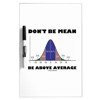 Don't Be Mean Be Above Average (Bell Curve Humor) Dry Erase Whiteboards