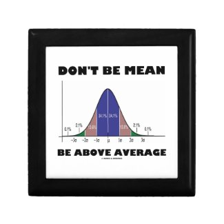 Don't Be Mean Be Above Average (Bell Curve Humor) Jewelry Box