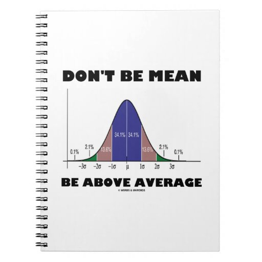 Don't Be Mean Be Above Average (Bell Curve Humor) Spiral Notebook