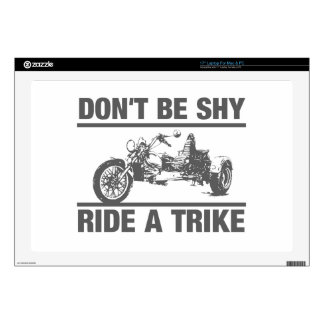 Don't be shy, ride a trike laptop decal