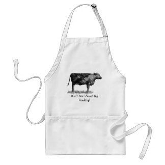 Don't Beef About My Cooking! Pencil Drawing, Cow Adult Apron