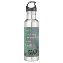 Don't Believe Everything You Think - Wise Hedgehog Stainless Steel Water Bottle