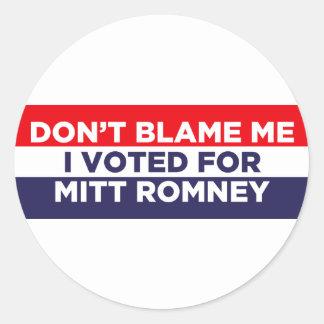 Don't Blame Me Classic Round Sticker