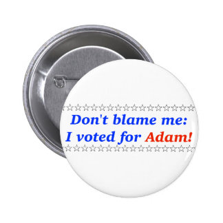 Don't blame me: I voted for Adam Pinback Buttons